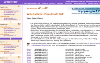 Schubert Verlag: Online-Übungen und Arbeitsblätter