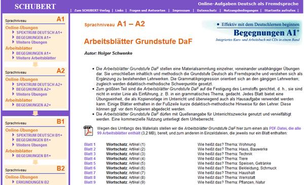 schubert verlag online bungen und arbeitsbl tter das online handbuch deutsch als zweitsprache. Black Bedroom Furniture Sets. Home Design Ideas